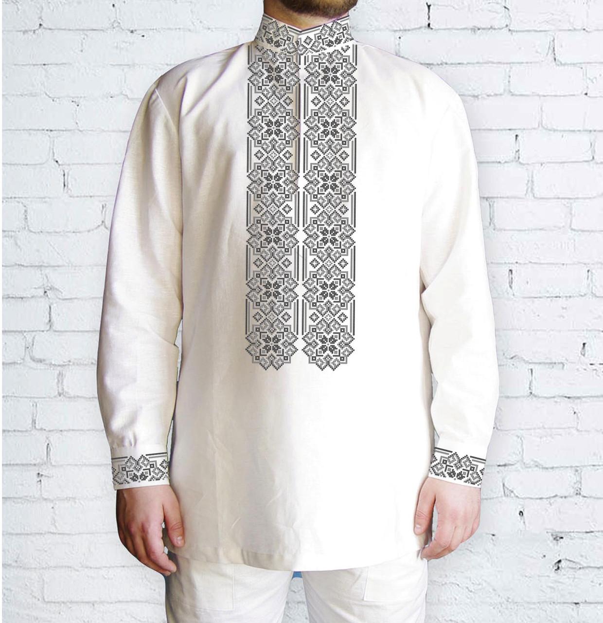 Заготовка чоловічої сорочки та вишиванки для вишивки чи вишивання бісером Бисерок «Орнамент 531 С » Домоткан  (білий) (Ч-531 С ДМБ)