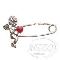 Серебряная булавка «Ангел и сердце» 3344