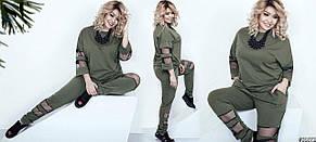 Женский батальный костюм из двунитки со вставкой сетки , фото 2