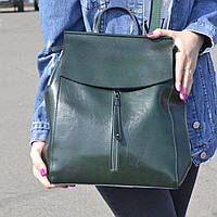 """Женский кожаный рюкзак, сумка для формата А4 """"Алиса Dark Green"""", фото 1"""
