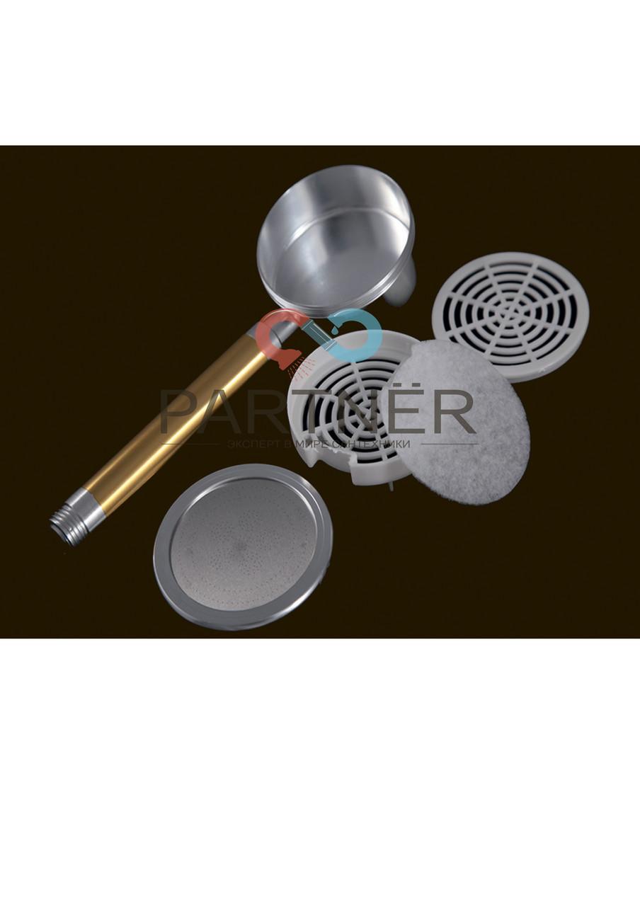 Лейка душа алюминий разборная с фильтром, цвет ручки золото