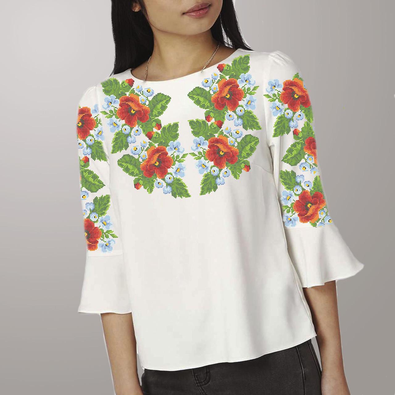 Заготовка вышиванки женской сорочки / блузы для вышивки бисером «Розкіш літа» Домоткан (білий)