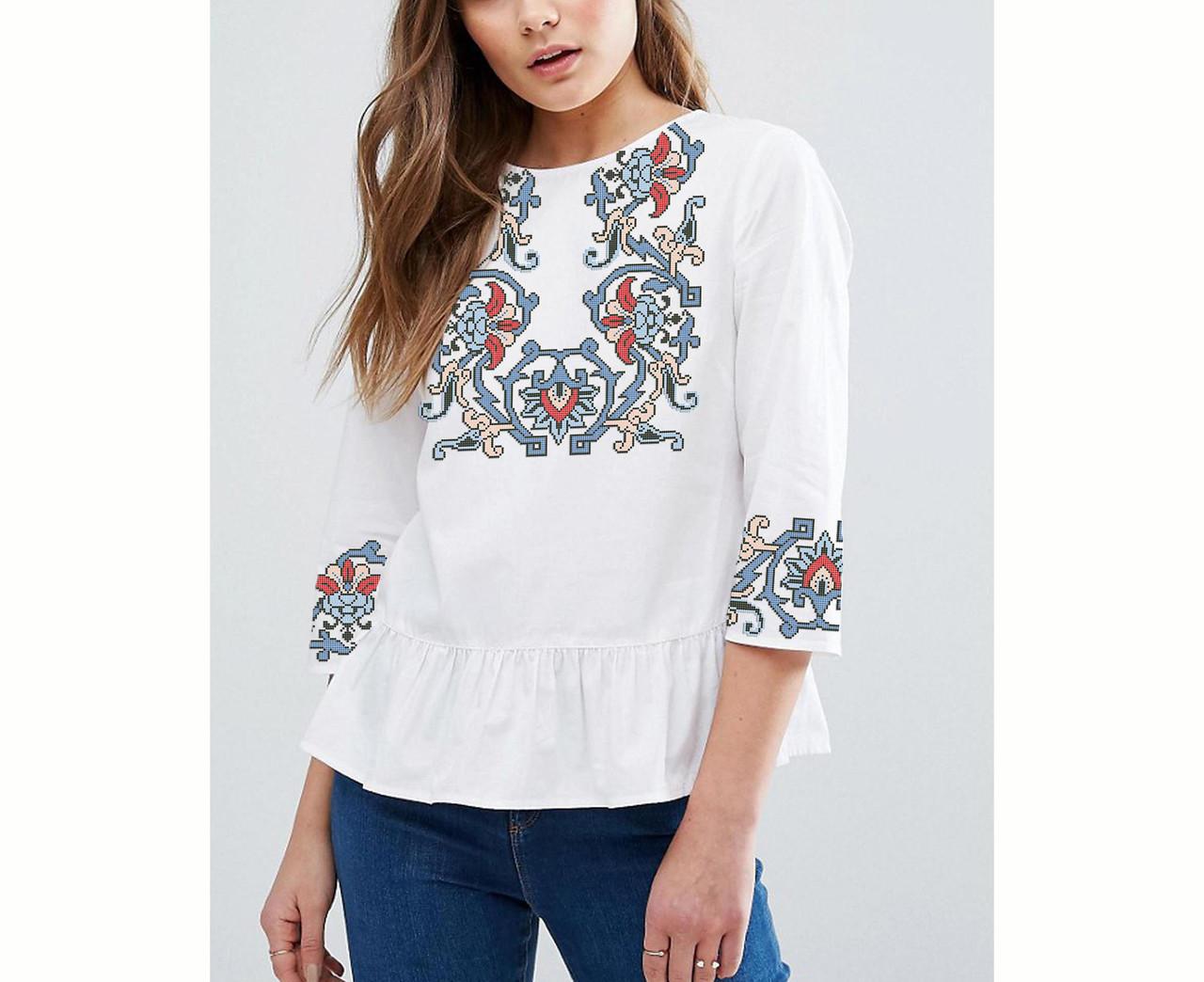 Заготовка вышиванки женской сорочки / блузы для вышивки бисером «Загадка» Габардин (белый)