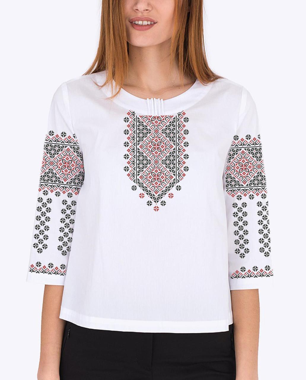 Заготівля вишиванки жіночої сорочки / блузи для вишивки бісером «Традиційна» Габардин (білий)