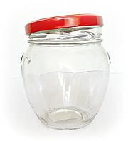 Банка стеклянная 1062 мл для консервации Everglass с металлической красной крышкой Twist-off