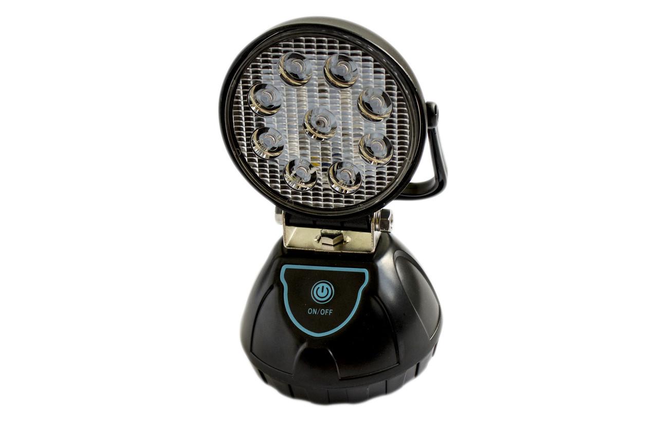 Светодиодный фонарь-прожектор WJ004-1-9XPE+аварийка (круглый)
