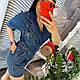 Джинсовый женский синий комбинезон на запах шортами 2019, фото 5