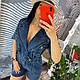 Джинсовый женский синий комбинезон на запах шортами 2019, фото 8