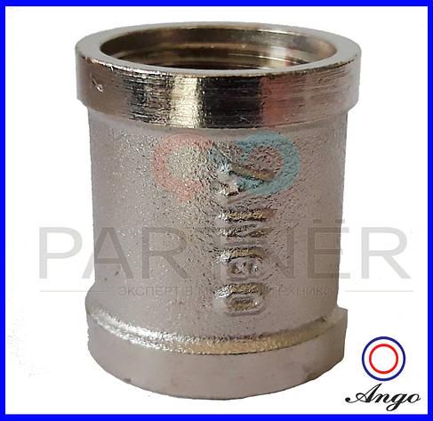 Муфта 3/4вв никелированная, латунь ANGO, фото 2