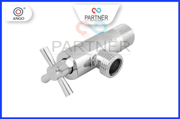 Кран угловой вентильный 1/2н-1/2н  XY-8050, ручка крест, фото 2