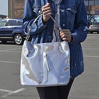 """Женская кожаная сумка с лазерным напылением   """"Лазерка Silver"""""""