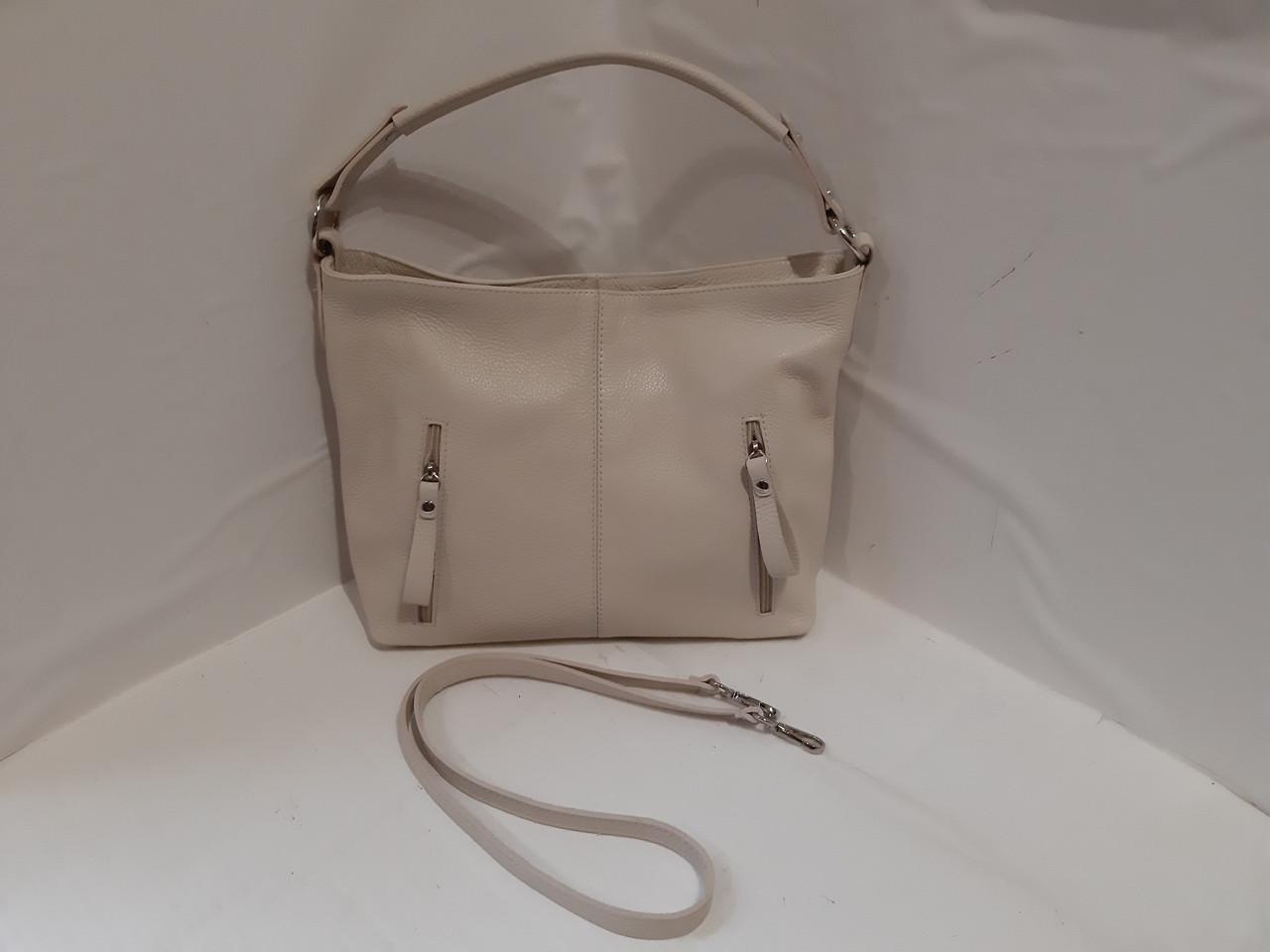 a9da7f444de8 Женская кожаная бежевая сумка на длином ремешке через плече на два отделения  спереди карманы на молнии