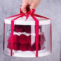 Коробка для торта Круглая Белая, прозрачная 28*34 см(высота)