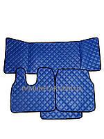 Автомобильные ковры из эко-кожи MAN TGA синие в узкую кабину