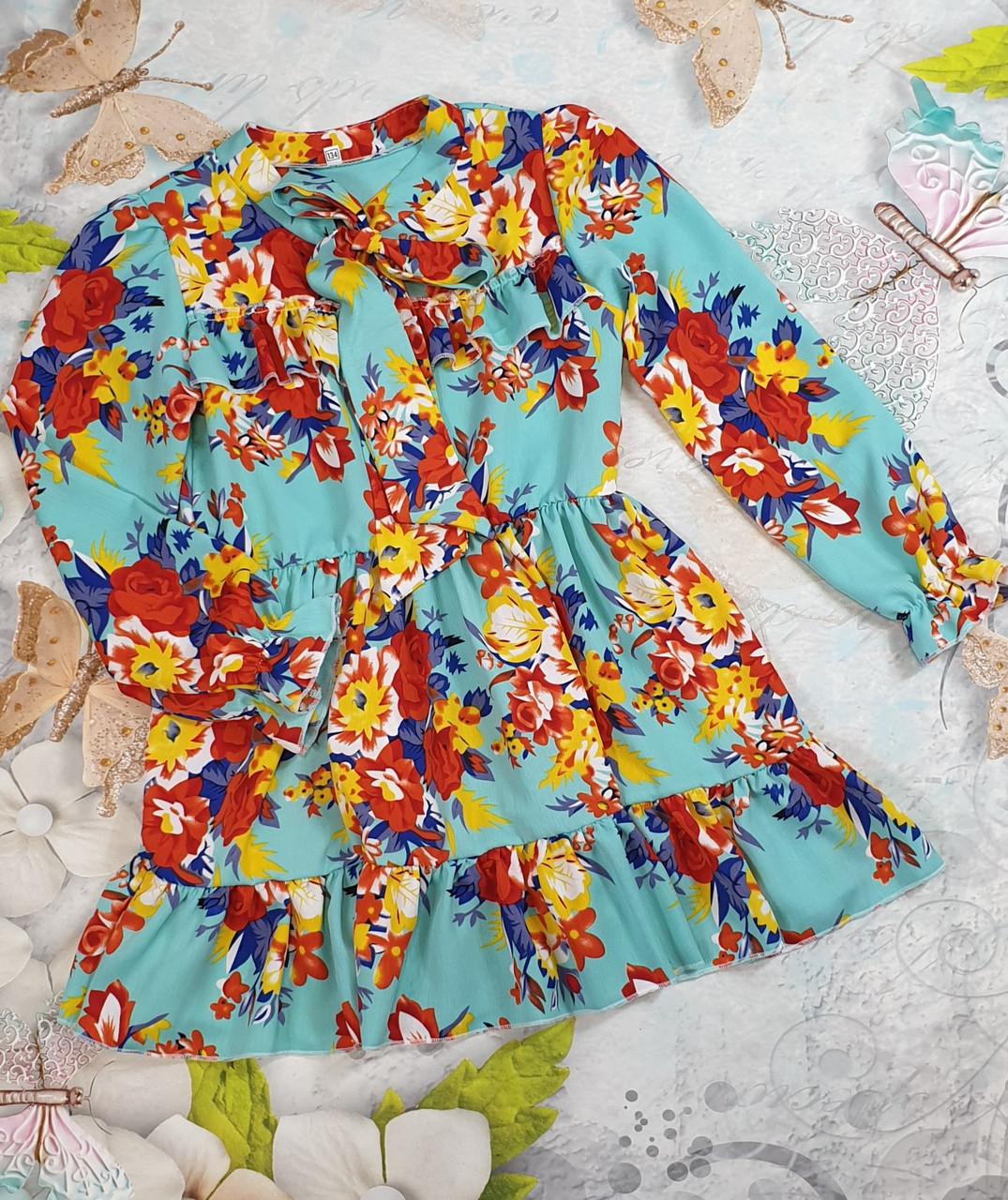 Стильное платье с рюшем для девочки Цветы р 134-152 оптом