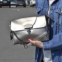 """Женская кожаная сумка серебристая """"Мелитта 2 Silver"""", фото 1"""