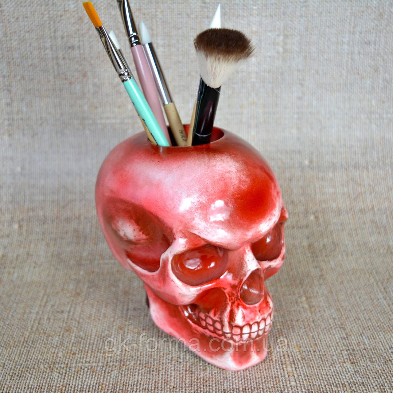 Художественный череп подставка для кистей и карандашей, фото 1