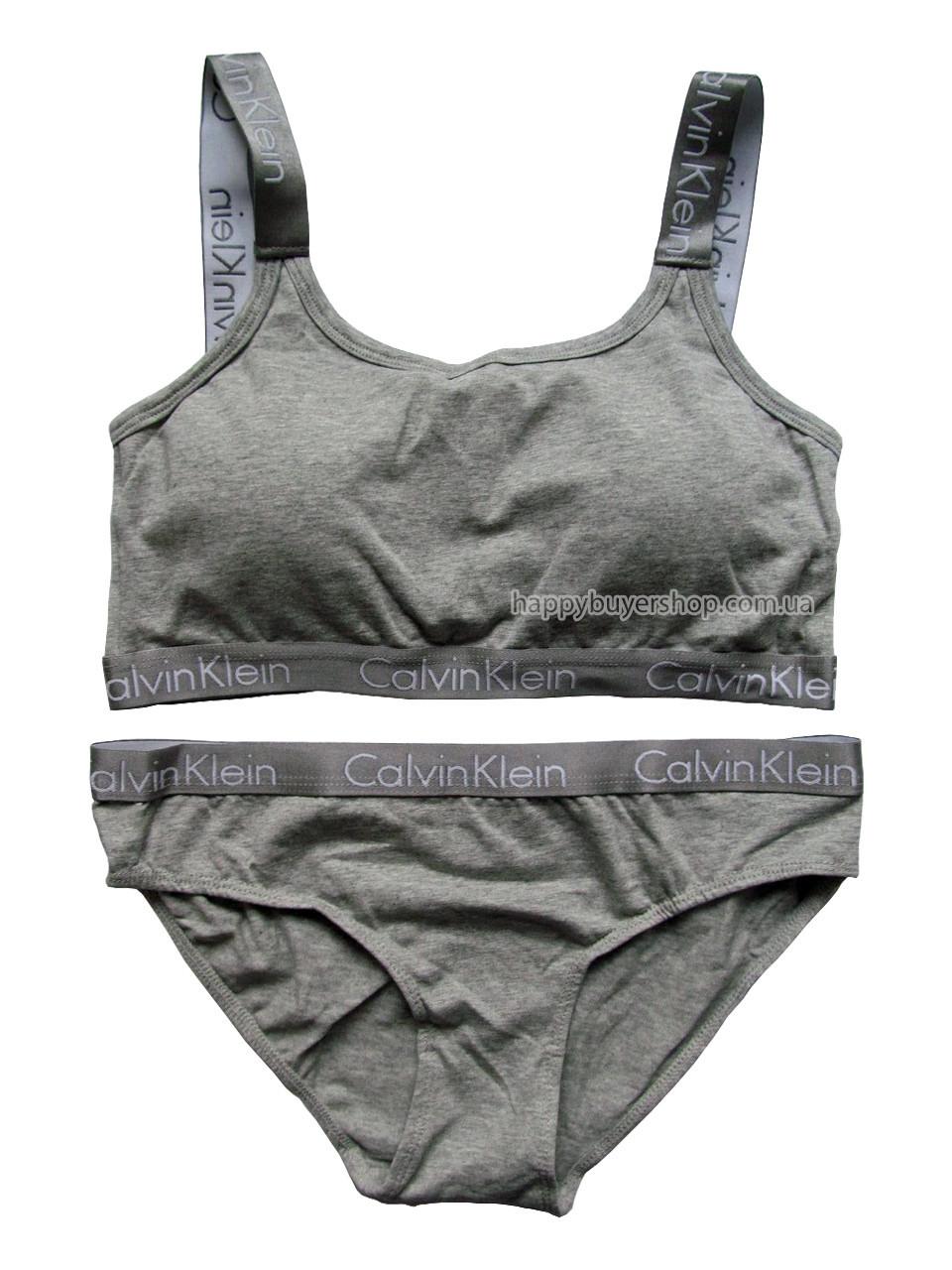 Комплект женского белья Кельвин Кляйн Radiant (реплика) слипы+топ с чашечками серый