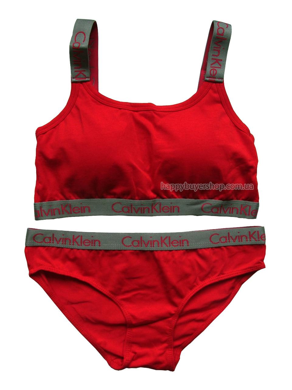 Комплект женского белья Кельвин Кляйн Radiant (реплика) слипы+топ с чашечками красный
