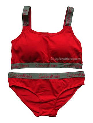 Комплект женского белья Кельвин Кляйн Radiant (реплика) слипы+топ с чашечками красный, фото 2