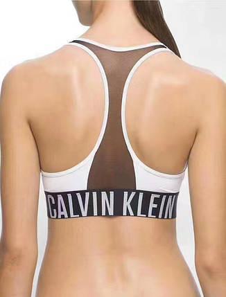 Комплект белья Calvih Kleih Intense Power (реплика) слипы+топ с чашечками. Белый с черным поясом, фото 2