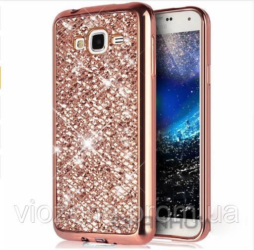 Чехол/Бампер блеск с кристаллами для Samsung J7 2015 (J700) Розовый (Силиконовый)