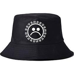 Панама Sad boy Yung Lean boys style чорна (панамка з сумним смайлом чоловіча жіноча)