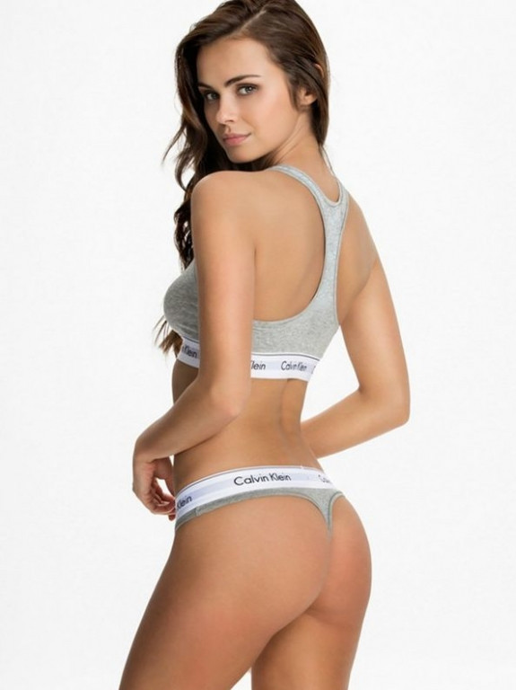 Комплект женского нижнего белья Calvih Kleih (реплика) топ и стринги серый размер М