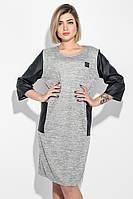 10faaf263c8b541 Платье женское (батал) с молнией на спине и боковыми карманами 74PD317  (Светло-серый меланж)
