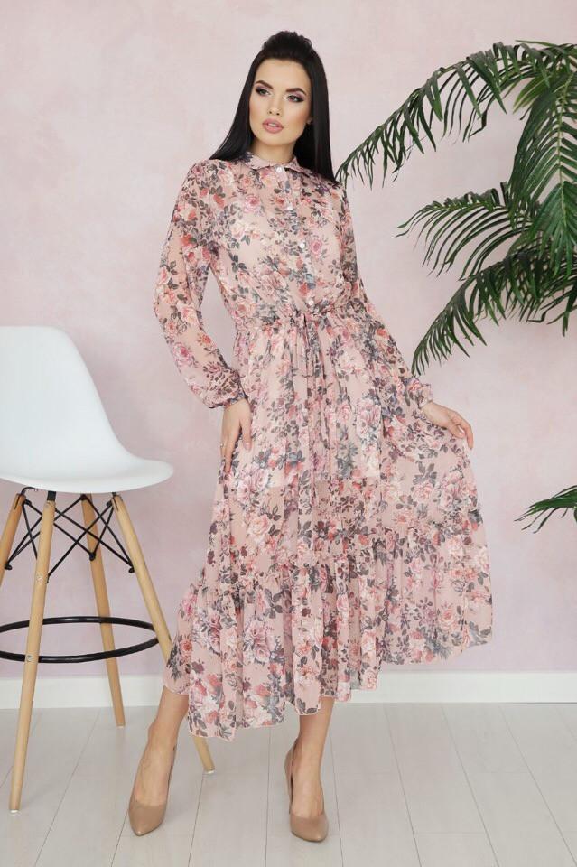0c0e71cc345 Шифоновое Платье-рубашка Ниже Колена с Поясом 16032608 — в Категории ...