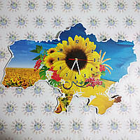 Часы Настенные карта Украины Большой подсолнух