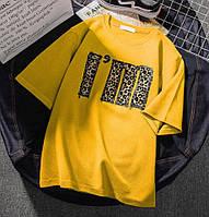 Женская прямая футболка с рисунком - накаткой 6817198