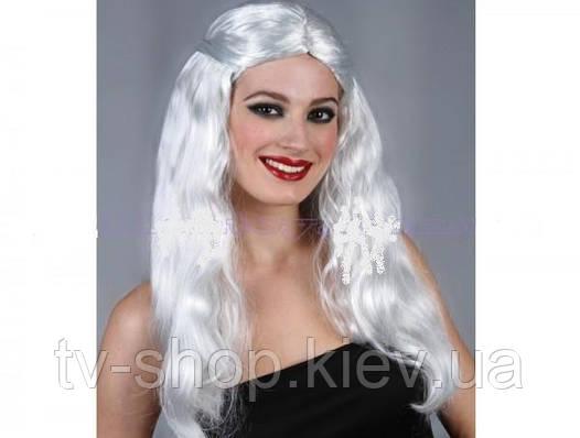 Парик с белыми длинными волосами