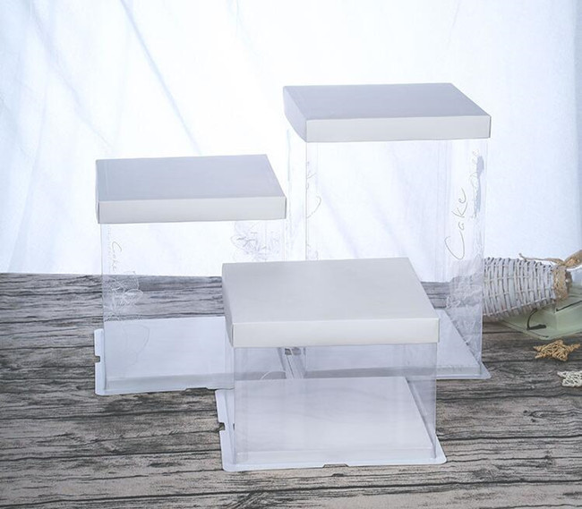 Коробка для торта Квадратная, прозрачная 26*26*25 см Белая