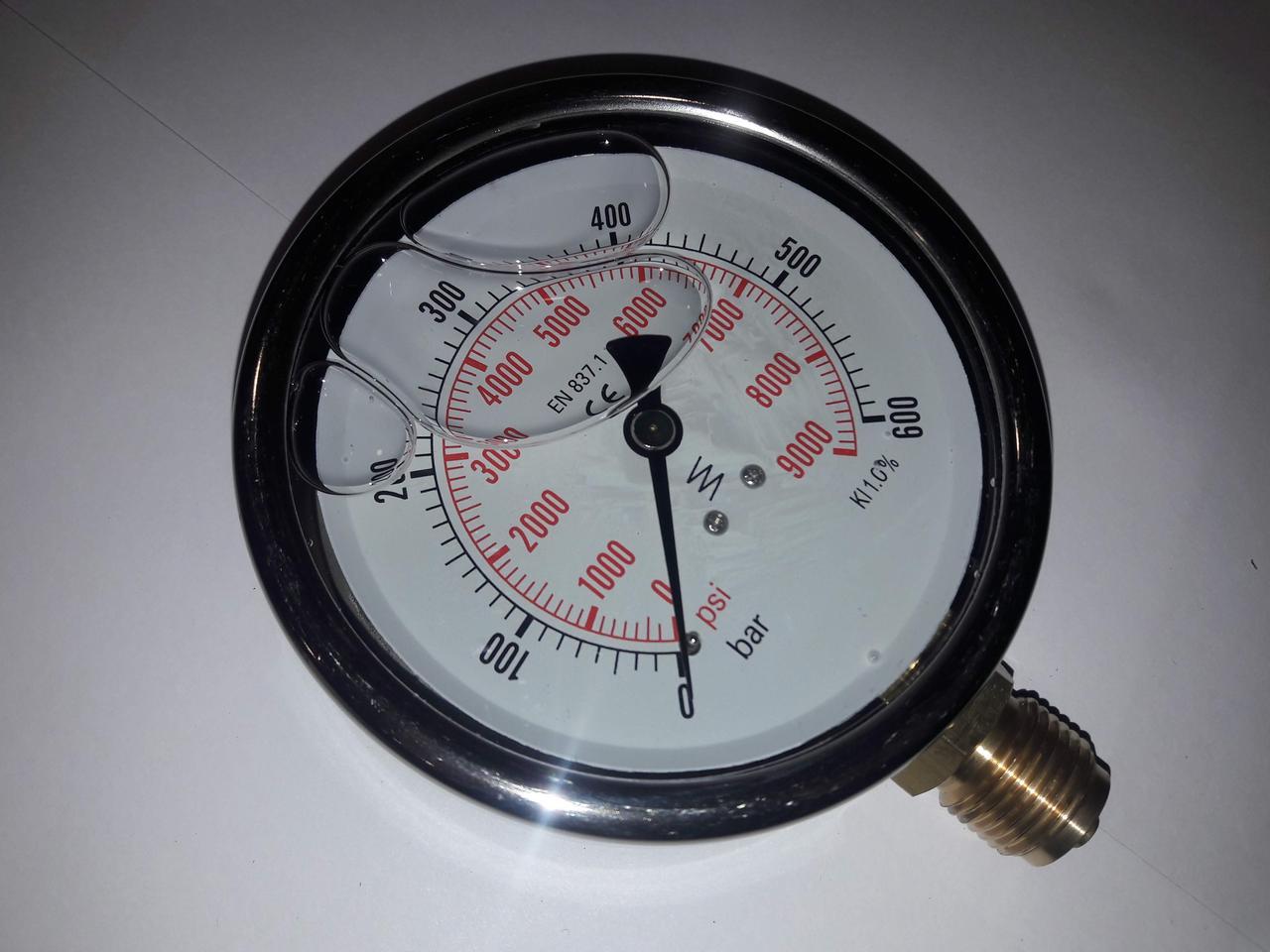Манометр радиальниый 150мм 100 бар 10МПа, гидравлический, глицеринонаполненый.
