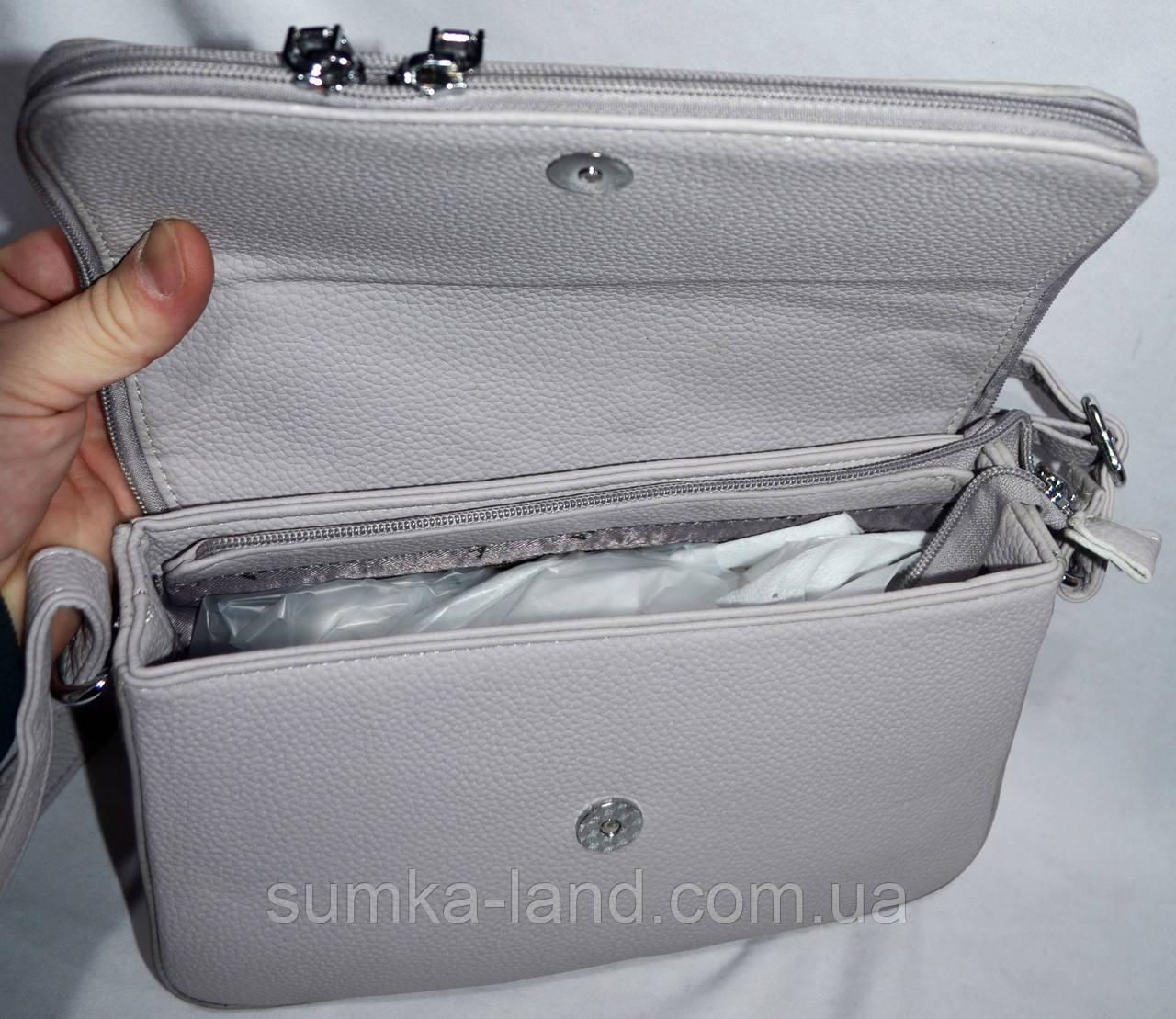 f7eb2fc77988 ... Женский клатч серебряный на клапане с карманом на молнии 26*17 см, фото  3