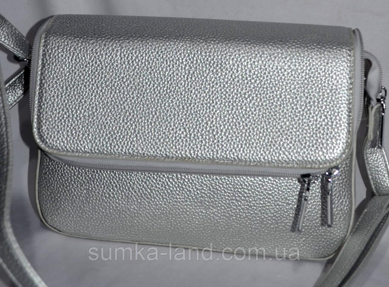 1603e7f01e01 Женский клатч серебряный на клапане с карманом на молнии 26*17 см ...