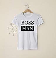 Мужская белая футболка, чоловіча футболка Boss Man, Реплика