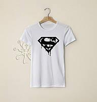 Мужская белая футболка, чоловіча футболка Superman, Реплика