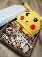 Подарочный набор кигуруми покемон пикачу+киндер сюрприз+киндер шоколад, фото 1