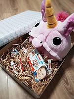 Подарочный набор кигуруми розовый единорог+киндер сюрприз+киндер шоколад, фото 1