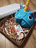 Подарочный набор для детей пижама кигуруми голубой единорог с шоколадом