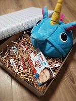 Подарочный набор для детей пижама кигуруми голубой единорог с шоколадом, фото 1