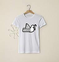 Мужская белая футболка, чоловіча футболка Peaceful Hooligan, Реплика