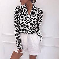 Женская рубашка с принтом черно-белый леопард 68BL233, фото 1