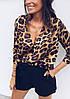 Леопардовая женская блуза из мультишифона свободного кроя 68BL234