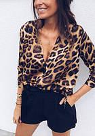 Леопардовая женская блуза из мультишифона свободного кроя 68BL234, фото 1
