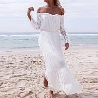 Летнее длинное платье хлопковое с открытыми плечами 68PL2603, фото 1