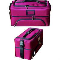 Сумка-чемодан для мастера тканевая розовая