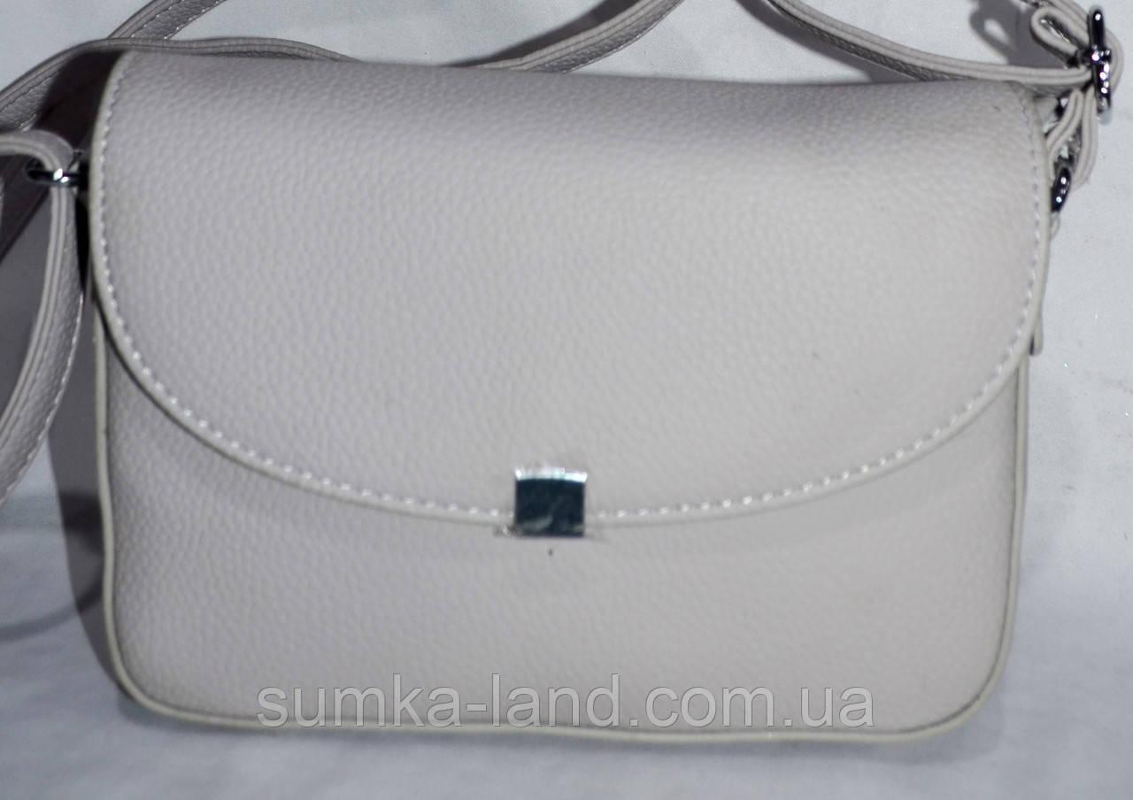 f67fc5d775ee Женский клатч серый на клапане с металлическим квадратиком 21*14 см -  SUMKA-LAND